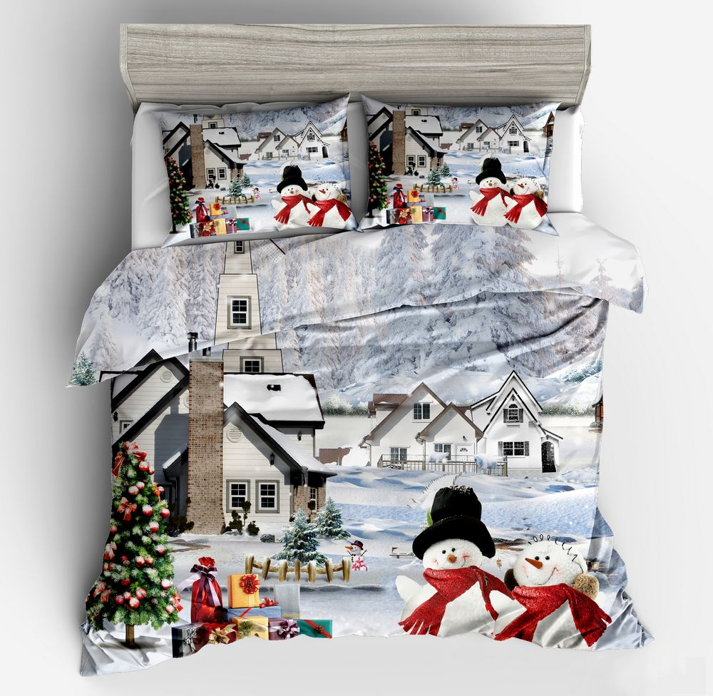 High Quality Modern 100%polyester Bedding Sets Home Textiles 3d Christmas Tree Snowman Printed Duvet Cover Set Bedclothes