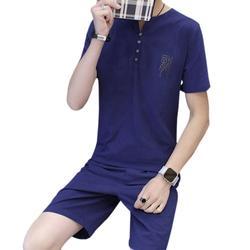 Новые летние модные Для мужчин комплект из двух предметов спортивный костюм футболка и шорты + короткие штаны Повседневное Для мужчин