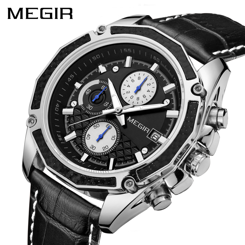 <font><b>MEGIR</b></font> Original Men Quartz Watch Top Brand Military Watch Multifunction Chronograph Leather Sport Watches Relogio Feminino <font><b>2015</b></font> image