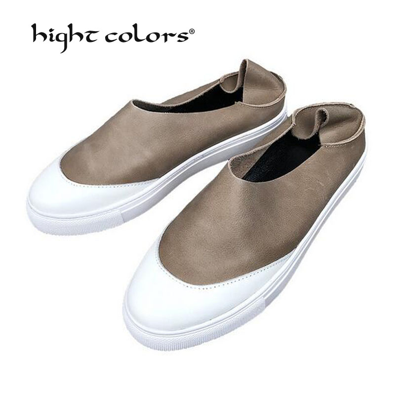 High Quality 2019 Women Fashion Shoes Summer Woman Simple Casual Genuine Leather Slippers Mixed Colors Round