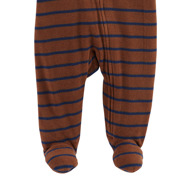 1pcs Little Brother embroidery stripes Zip-Up Fleece footies Carter's baby boy fall winter clothing 115G587