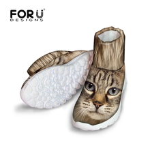 FORUDESIGNS Women's Winter Snow Boots Cute 3D Animals Cat Printed Short Boots Female Ladies Platform Boots Woman Warm Ankle Boot