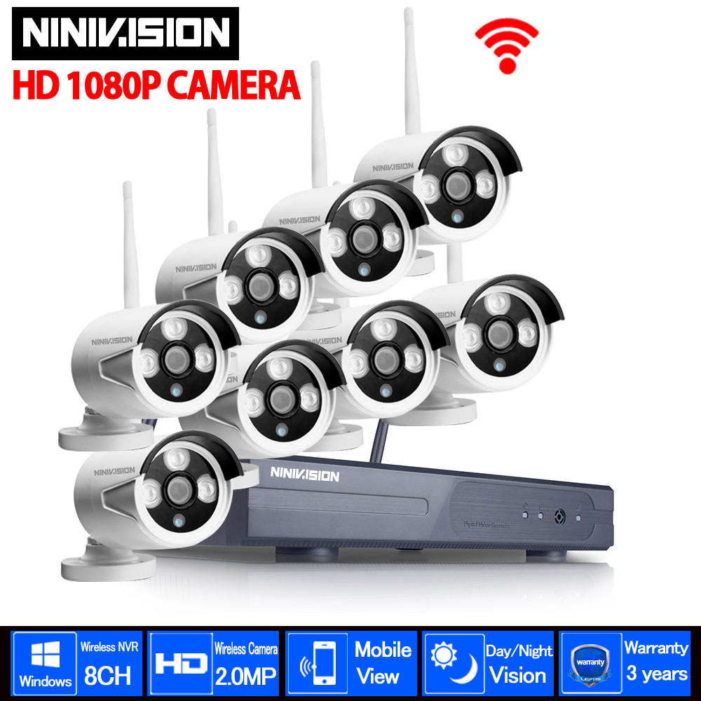 Plug And Play 8CH NVR Wireless CCTV System 1080P HD H.264 IP66 Mini Home Security Video WIFI 2.0MP IP Camera Surveillance Kit plug and play 8ch wireless nvr h 264 video surveillance kit 720p hd outdoor vandal proof ir dome wifi cctv camera system 2tb hdd