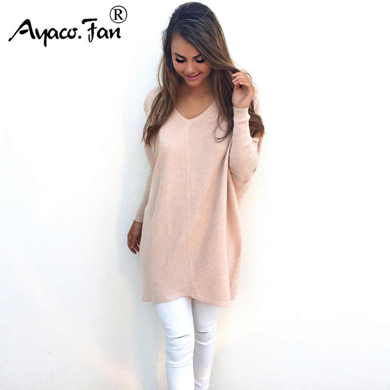 Women 2018 Autumn New Sexy Batwing Sleeve Long Knitted Sweater Lady Loose  Pullovers Knitwear Winter Jumper 51b3e3b07ef2