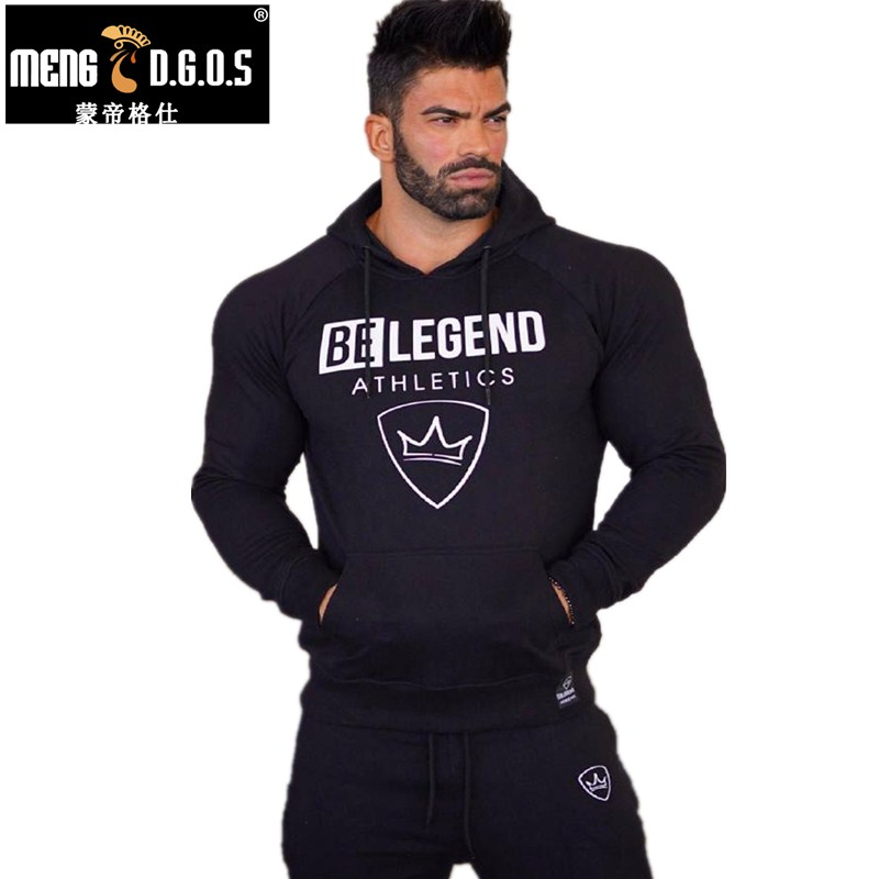 Mens mode märke hoodies gym Fitness bodybuilding Sweatshirt pullover sportkläder man Leisure jacket kläder