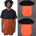 Men Extended T Shirt Swag Black Orange Patchwork Cotton Tyga Hip Hop T-Shirt