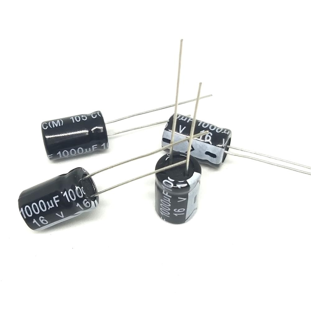 High quality <font><b>50pcs</b></font>/lot Aluminum electrolytic capacitor <font><b>16v</b></font> <font><b>1000uf</b></font> 8*12mm <font><b>1000UF</b></font> <font><b>16V</b></font> DIP IC ... image