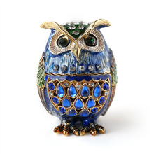 Free Shipping Exquisite Owl Trinket Jewelry Box Small Brown Collectible Enamel Bird Decoration