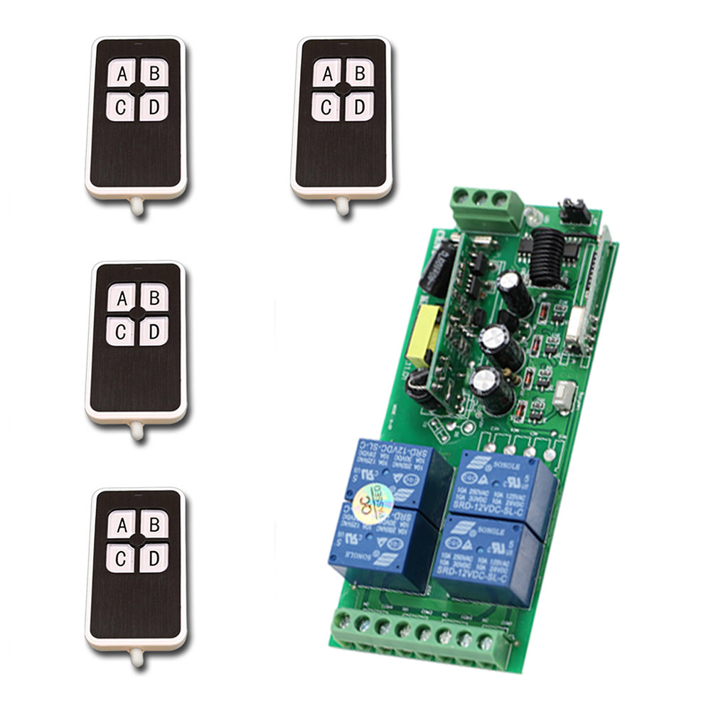 Smart Home AC85V~250V 4CH RF Wireless Remote Control Switch Relay Output Radio Receiver Module and 4pcs Transmitters ac 250v 20a normal close 60c temperature control switch bimetal thermostat