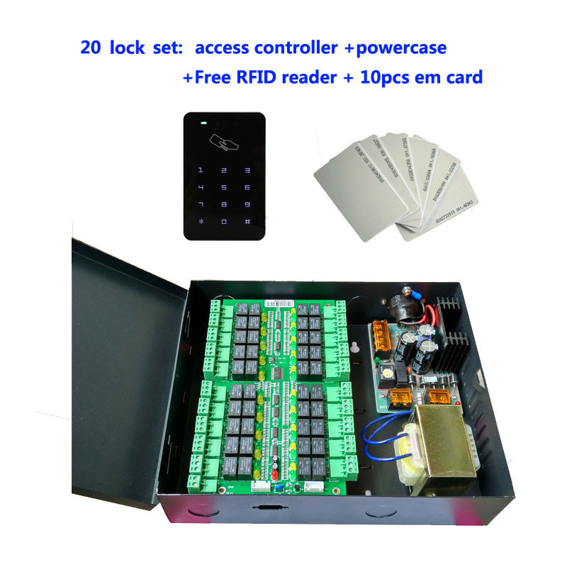 total locker kit ,20 locker Controller+power case + rfid reader+10pcs em card ,suit for bank /bath center private Cabinet ,DT20 locker access control system manage 40pcs locks tcp ip commution suit for bank bath center etc private cabinet model dt40