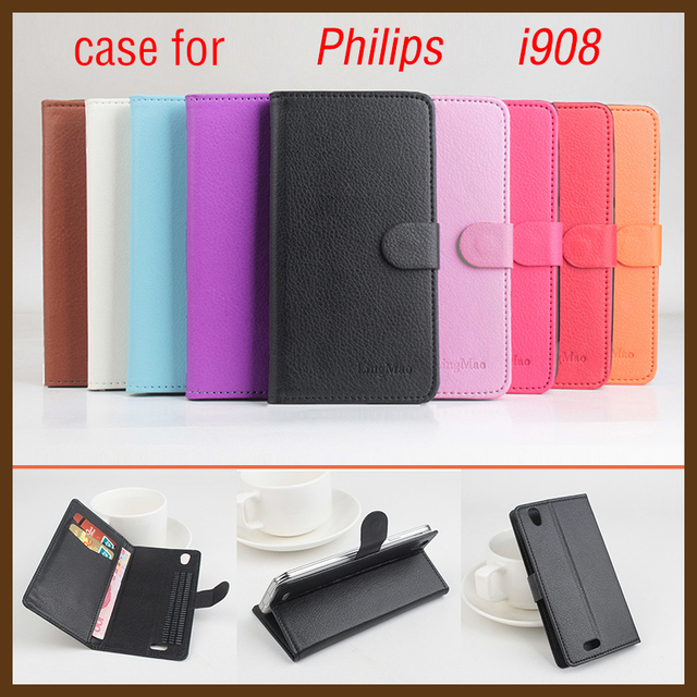 Brand Litchi Grain For Philips i 908 Case High Quality Leather Case Back cover With Wallet For Philips i908 Case Phone