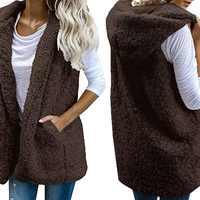 Femmes chaud point ouvert fausse fourrure gilets polaire vestes hiver à capuche gilets dames décontracté sans manches manteaux outwear