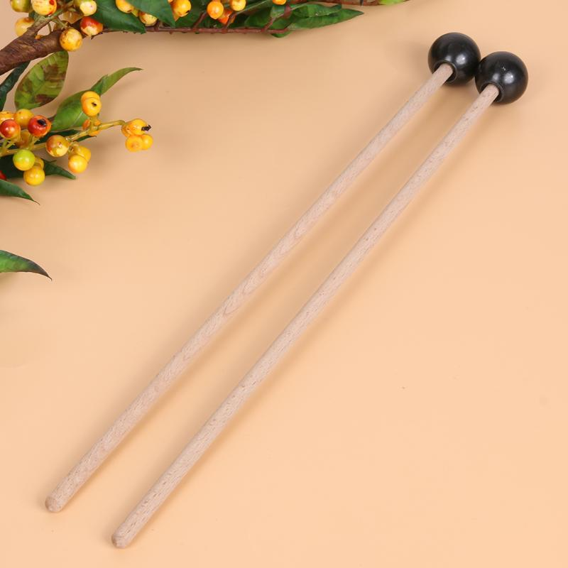 1 Pair Professional Percussion Instruments Xylophone Marimba Mallets Maple Wooden Handle Rubber Mallets Parts Accessories New