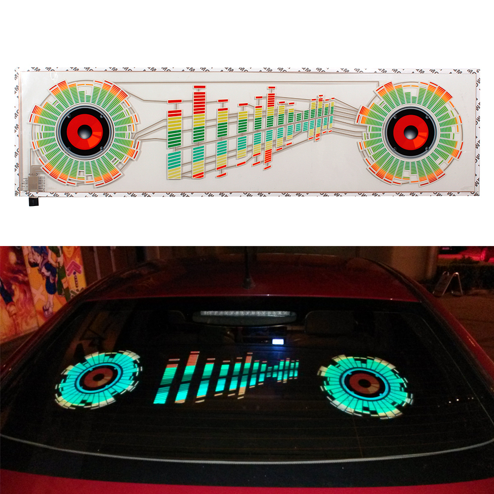 Car Sticker Music Rhythm LED Flash Light Lamp Sound Activated Equalizer Automobile Interior Atmosphere Car Decoration infant shining swing car mute flash belting leather music environmental quality children s toy car