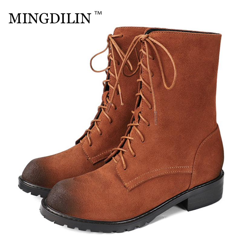 цены MINGDILIN Women's Genuine Leather Martin Boots Woman Shoes Winter Chelsea Boots Plus Size Lace Up Genuine Leather Ankle Boots