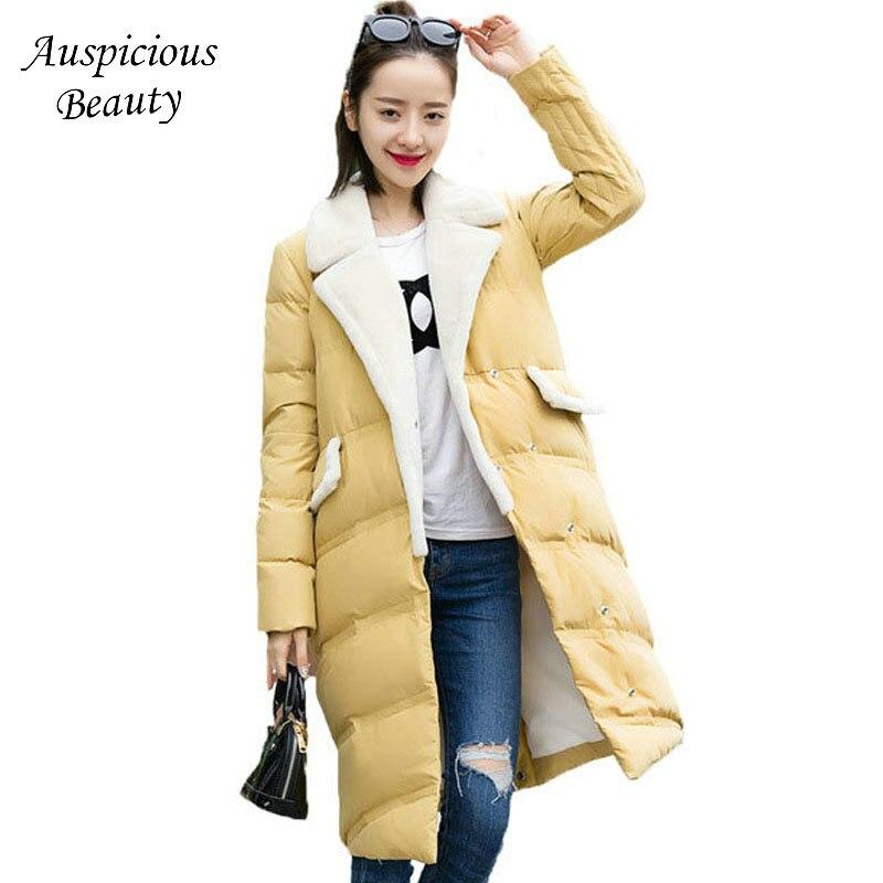 2017 New Winter Down Jacket Women Solid Color High Quality Warm Coats Female Ladies Medium Long Down Coats Women Parkas CXM107