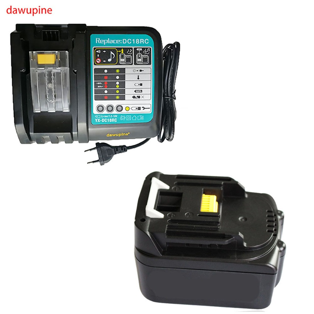 dawupine BL1430 Li-ion Battery Charger 6A Charging Current 4Ah Battery Capacity For Makita 18V 14.4V Bl1830 DC18RC DC18RA dawupine dc18rct li ion battery charger 3a 6a charging current for makita 14 4v 18v bl1830 bl1430 dc18rc dc18ra power tool