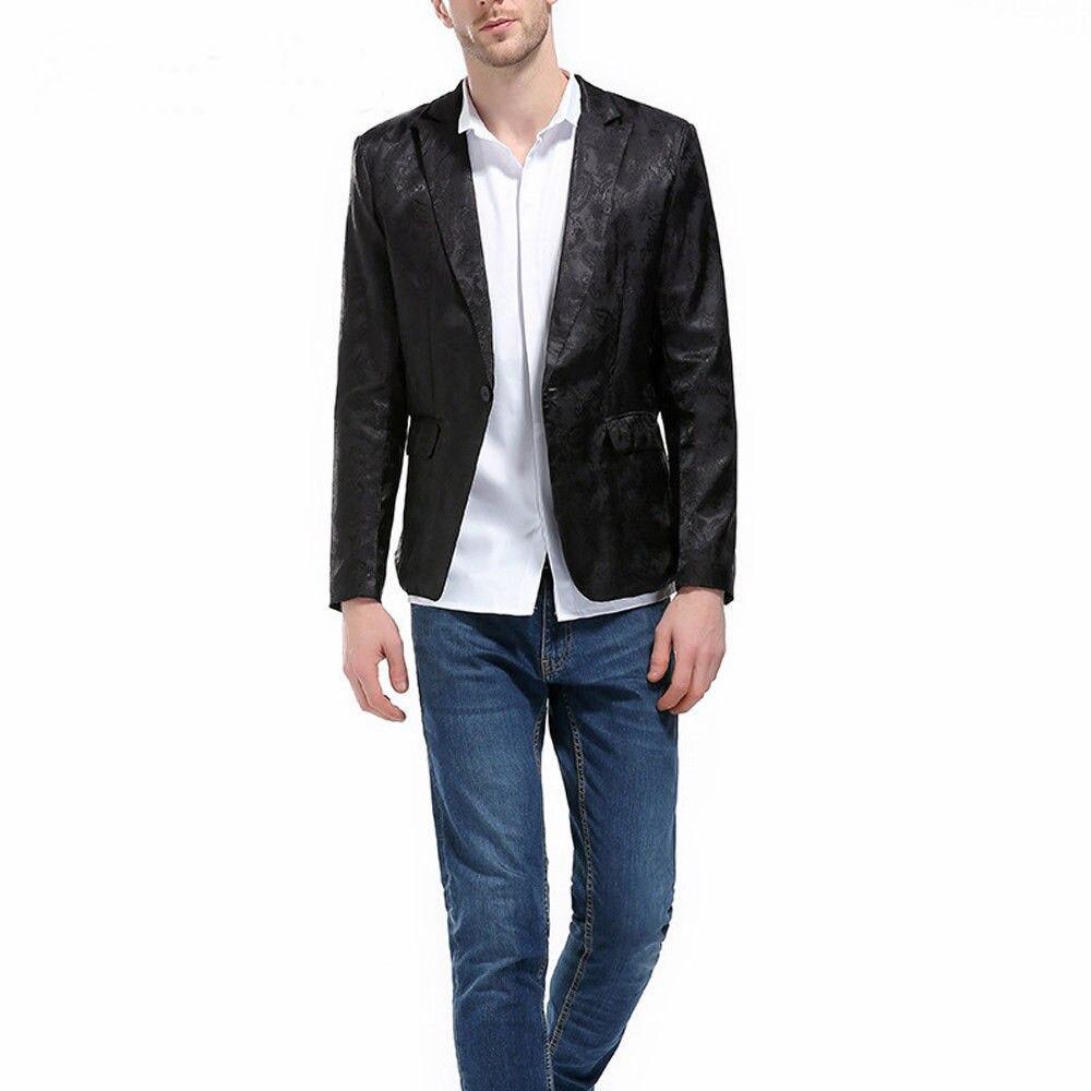 Treu Männer Mode Eine Taste Slim Fit Casual Business Anzug Kleid Blazer Mantel Jacke Einen Einzigartigen Nationalen Stil Haben