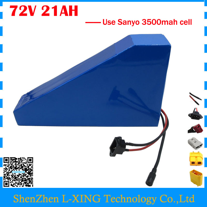 Free customs tax 72V 21AH Bicycle battery 72V 21AH Lithium triangle battery 72V Battery pack use Sanyo 3500mah cell 40A BMS free customs taxes high quality skyy 48 volt li ion battery pack with charger and bms for 48v 15ah lithium battery pack