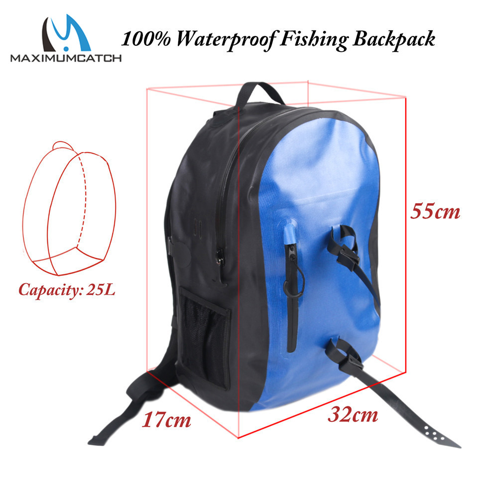 Maximumcatch 25L 30L Dry Backpack Waterproof Fishing Bag Ultra durable 500D PVC Watershed Fly Fishing Bag