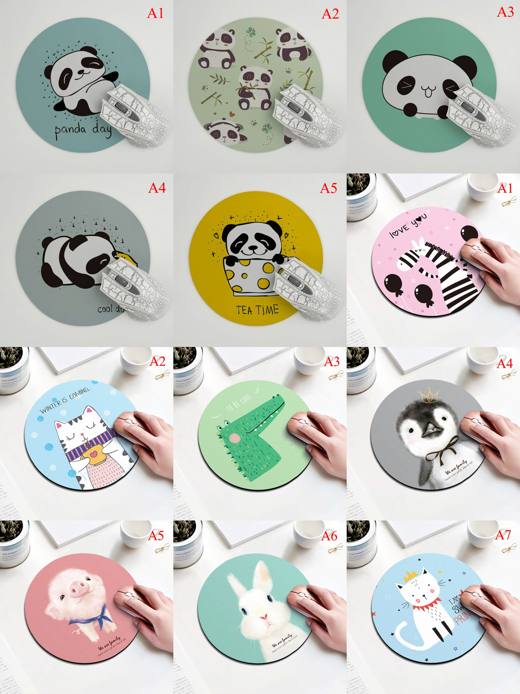 Cartoon Panda Rabbit Pig Cat Pattern Round Mousepad 200x200MM 11style Animal Mouse Pad Choose For Gift/game/office Tablet Mats