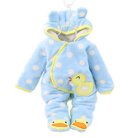 Winter Baby Warm Outwear Cute Newborn Girls Clothes Thick Fleece Overalls For Children Rabbit 3 Colors