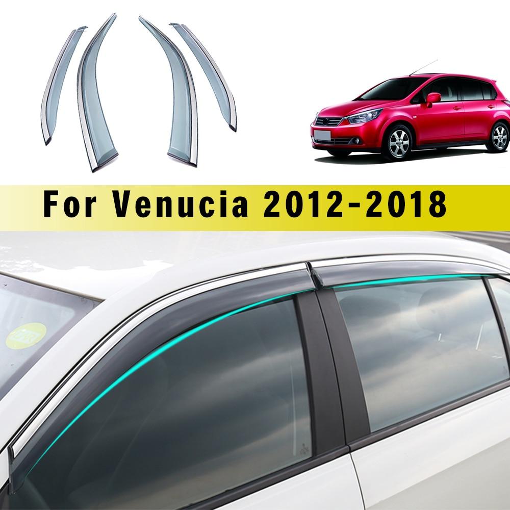 For Nissan Venucia R50 R50X 2012 2013 2014-2018 Smoke Window Sun Rain Visor Deflector Guard For Nissan TIIDA 2007 4pcs