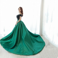 Sweetheart neck black and Green Long Evening Dress Vintage Vestido De Festa Off The Shoulder Cheap Evening Gown