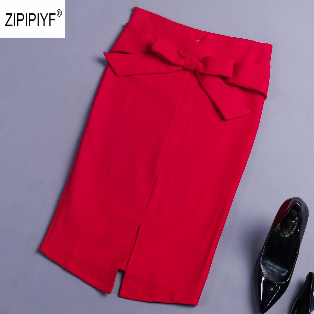 Summer 5XL Plus Size Slim Office Skirt Faldas Women Sexy All match Bow Pencil Skirt Office