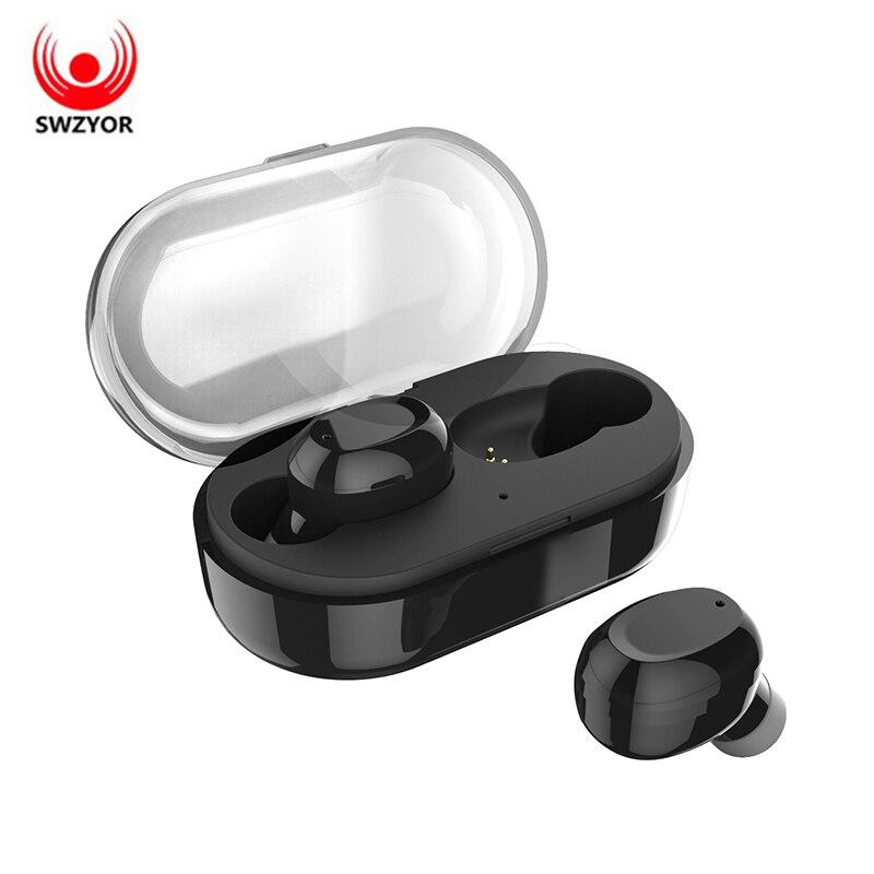 SWZYOR T6 TWS Auricolari Bluetooth Senza Fili In-Ear Auricolari IPX7 Impermeabile Stereo del Trasduttore Auricolare Con Il Mic Scatola del Caricatore Per Xiaomi Airdot