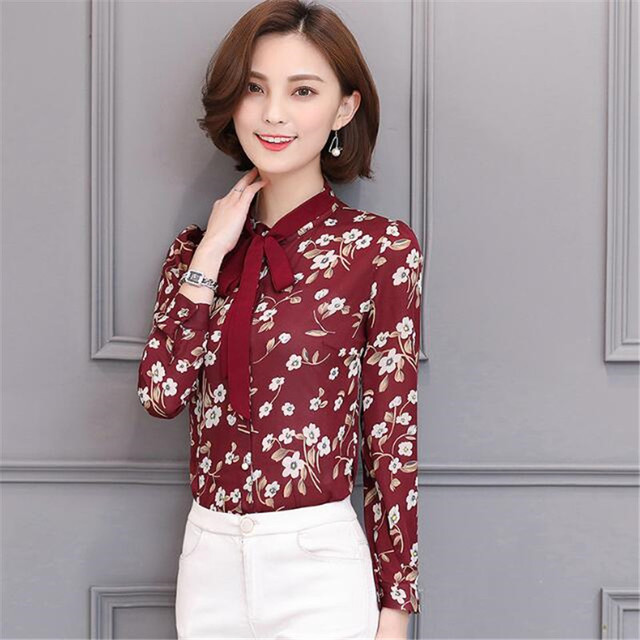 Floral Print Blouse With Bow Tie Long Sleeve Chiffon Blouses Women
