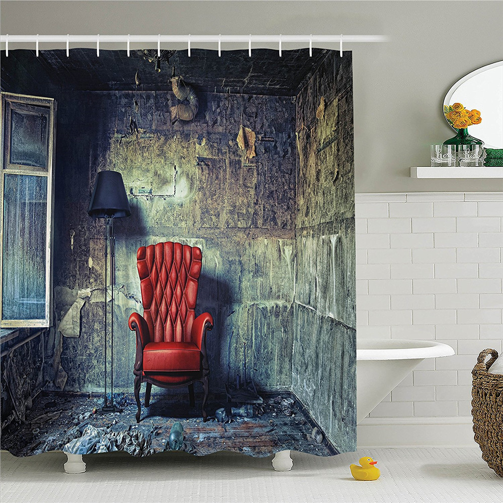 Vintage Shower Curtain Set Antique Decor by Luxury Armchair Floor Lamp in Grunge Interior Room Abandoned House with Distressed