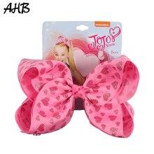 AHB Hair Accessories 7 Print Rainbow Bows for Girls Heart Ribbon Bow Clips Hairgrips Barrettes Kids Headwear