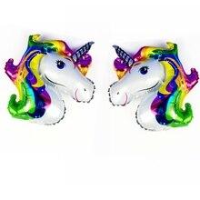 Cores Do Arco Íris Pegasus Unicorn Cavalo Balão de alumínio Bonito dos desenhos animados crianças brinquedos de Banho do bebê Suprimentos Festa de Aniversário de Casamento Decorativa