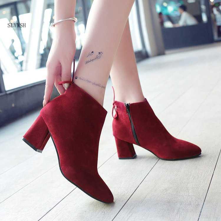 2018 neue Frauen Stiefel High Heels Stiefeletten Mode 2018 Herbst Chunky Ferse Damen Kurze Stiefel Schuhe rot Schuhe Größe 35-43