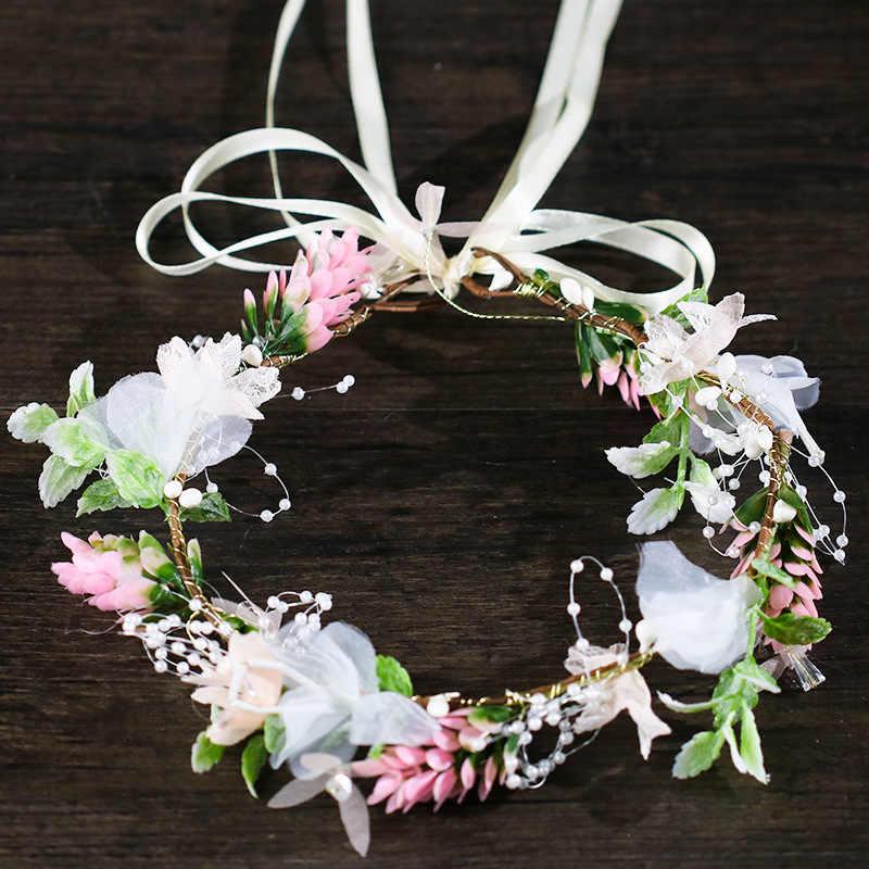 2018 nouveau fait à la main de luxe bal mariage cheveux accessoires cheveux bijoux mariée fleur coiffe perle perles chapeaux pour les mariées