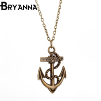 BRYANNA men jewelry collares vintage Anchor necklaces & pendants 2017 love Metal statement clavicle necklace for women BKN90080