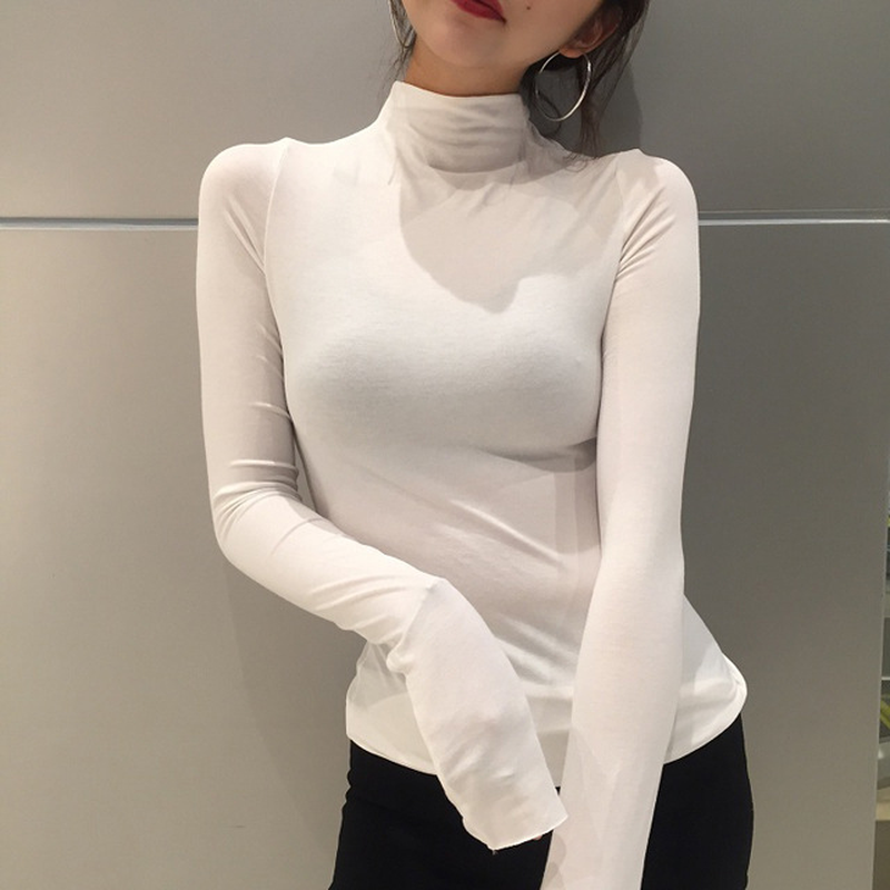 U-SWEAR Fashion Women's High Neck Solid Strench Long Sleeve shirt Classic Tops Autumn Spring T-Shirts High Quality Harajuku