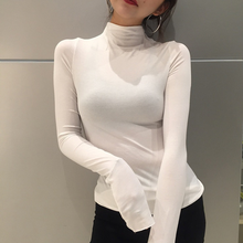 U-SWEAR Fashion Womens High Neck Solid Strench Long Sleeve shirt Classic Tops Autumn Spring T-Shirts Quality Harajuku