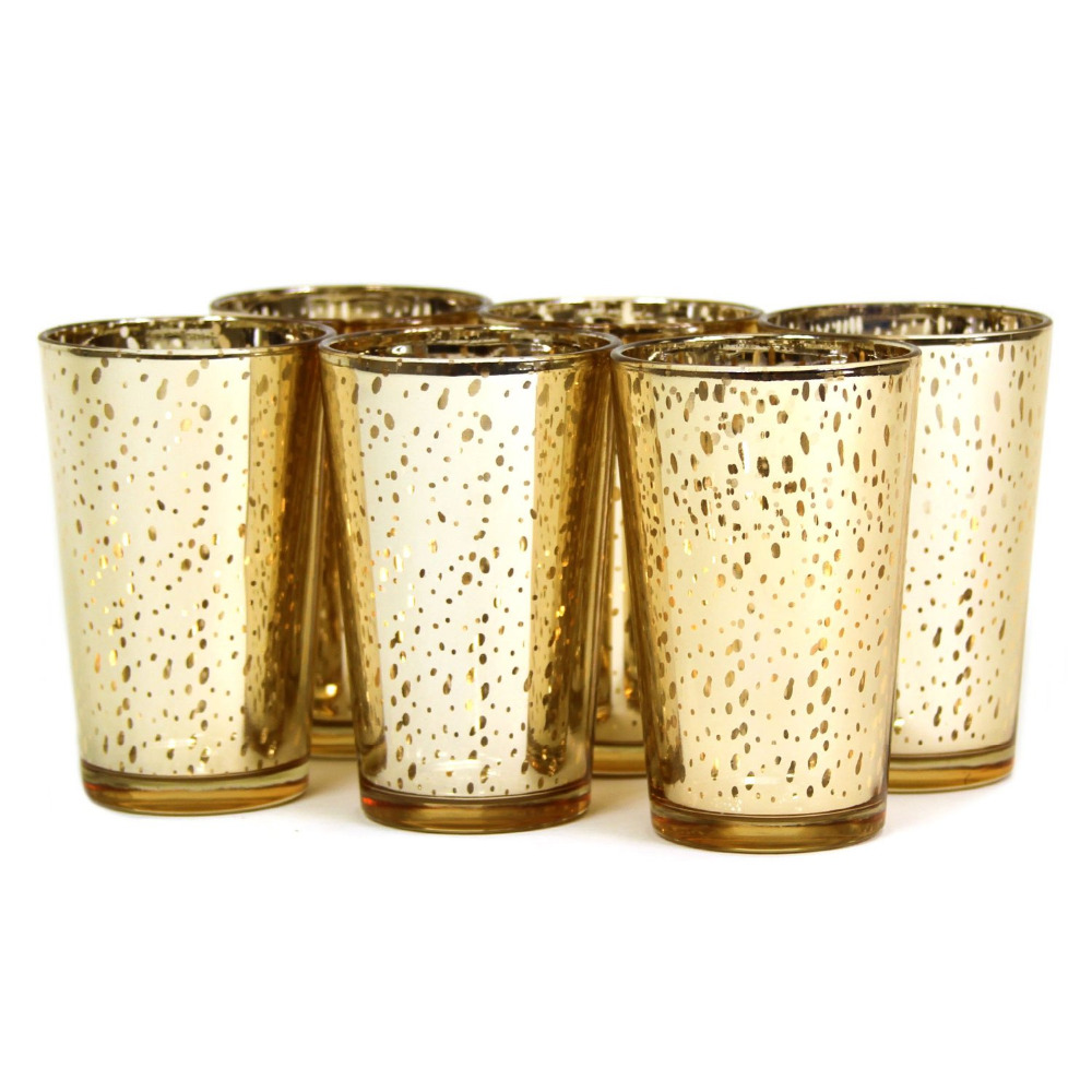 Medium Of Mercury Glass Candle Holders