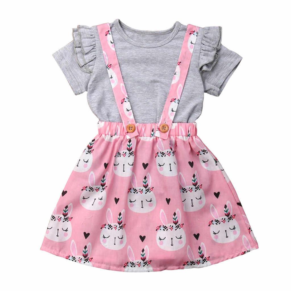 ילדים חליפות בגדי ילדים ילדים תינוקת פסחא T חולצה חולצות באני ביריות חצאית סרבל בגדים ורוד סט MAR6