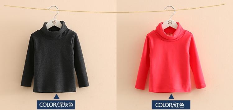 2018 Spring Autumn 2-10T Years Children'S Candy Color Sweet Long Sleeve High Neck Unisex Kids Girl Boy Basic Turtleneck T-Shirt (9)