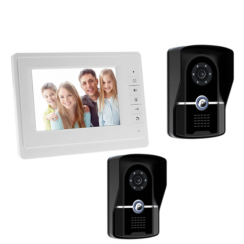 New Wire 7 inch Color LCD Video Door Phone Intercom System Kit For Home 1 Indoor Monitor 2 Doorbell Camera 700TVL Night Vision 7 inch color tft lcd wired video door phone home doorbell intercom camera system with 1 camera 1 monitor support night vision