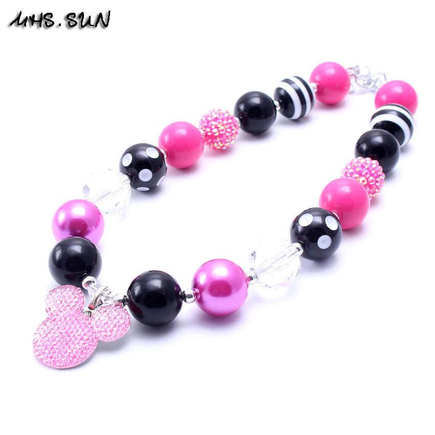 Novo 2016 dos desenhos animados pingente de colar de crianças/meninas/bebê jewlery colar bubblegum gumball chunky beads colar em massa!!!