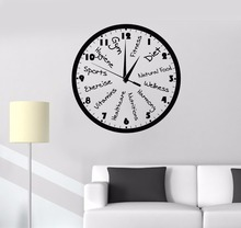 Fitness Club Clock Decoration For Room New Design Sports Wall Sticker Art Vinyl Ornament Motivation Gym W104