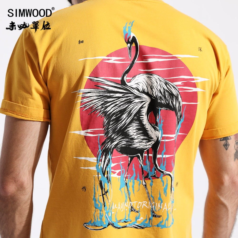 SIMWOOD Summer New Chinese Style   T     Shirt   Men Crane Painting Aesthetics   T  -  Shirt   Vintage Tops High Quality Loose Tees 180414