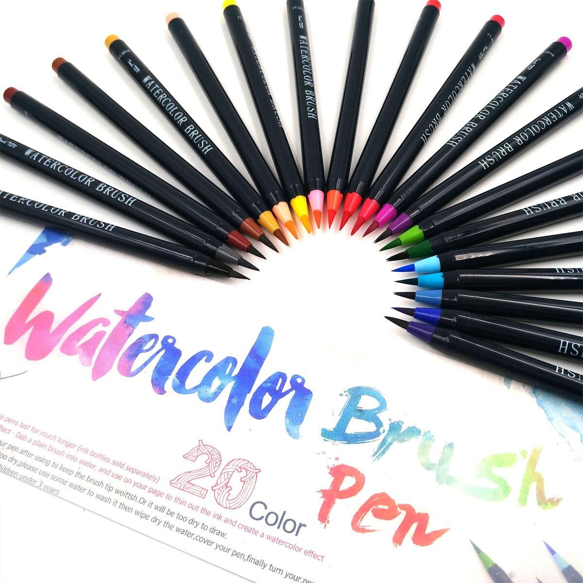 Migliore Marca Pittura Per Esterni nuovo 20 colori premium pittura spazzola morbida penna set