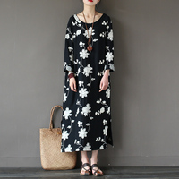 Solid Black Flower Embroidery Long Sleeve Women Long Dress Cotton O Neck Plus Size Loose Casual