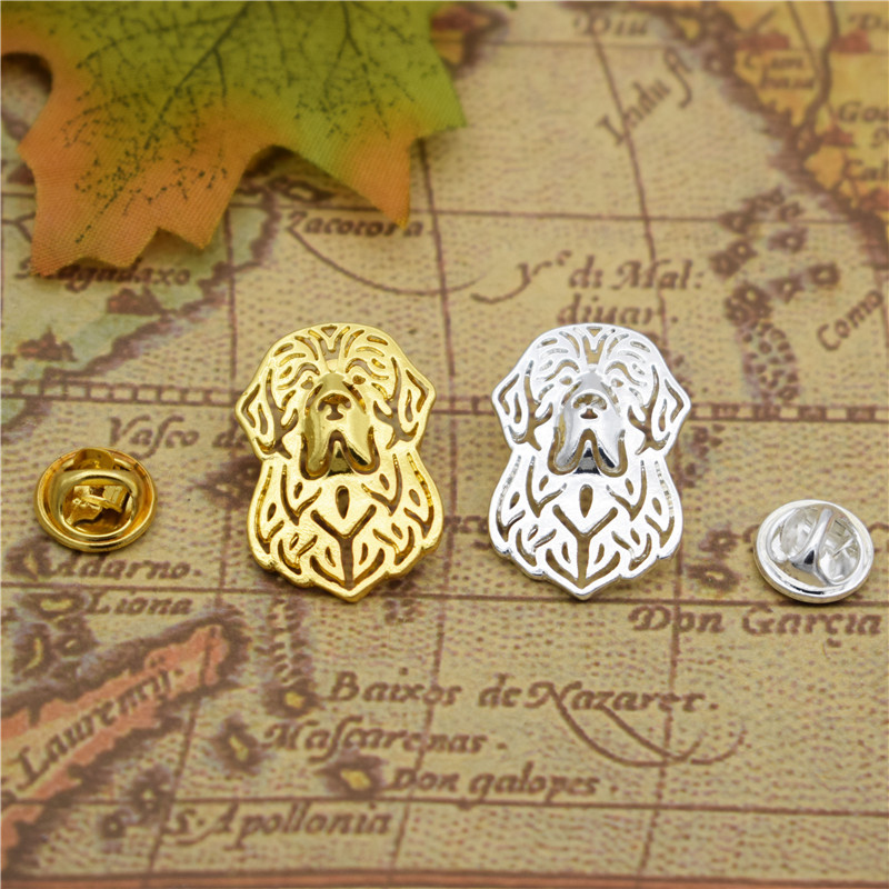 LPHZQH Fashion Newfoundland Broches Butterfly Clasp Collars Jewelery Lapel Pin Clothing Accessories Men's Gift gold silver color
