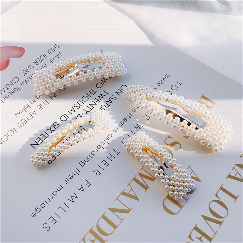 1Pc Fashion Women Pearl Hair Clip Snap Hair Clip Hair Barrette Stick Hairpin Hair Styling Accessories Gifts For Girls 4 Style